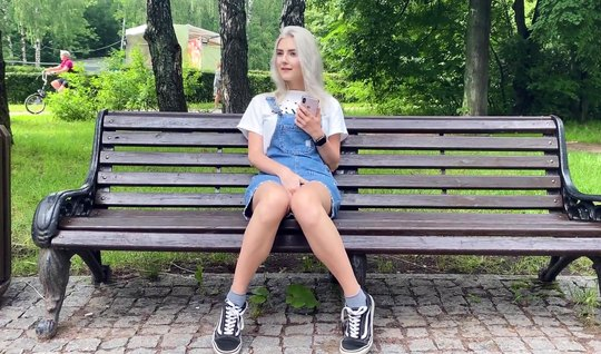 Russian couple in public in the park fucks in a vaginal slit and catches a high