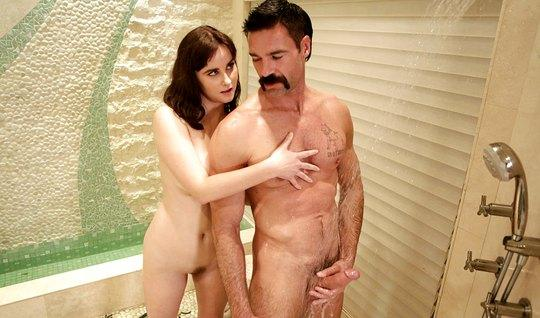 The nurse Fucks with the mustachioed neighbor and makes him a dick massage with pussy