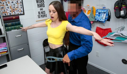 The brunette in the office beautifully caresses the thick cock of the security guard with a delicate pussy