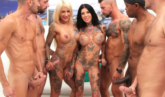 Tattooed girls came to the motorcycle club for a hot group sex with hunks