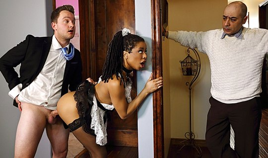 The mulatto in the uniform of a maid cheating with her Horny lover