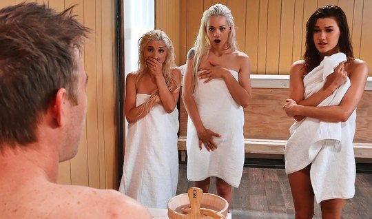 Three girlfriends arranged a gangbang for a guy with a big dick right in the sauna
